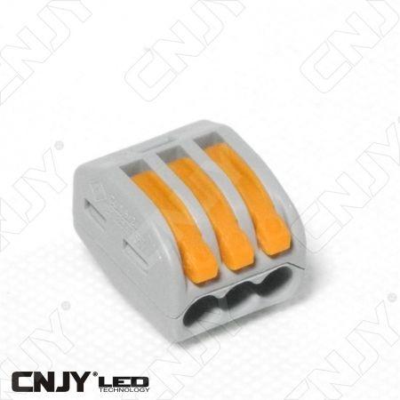 1 BORNIER CONNECTEUR 3 BRINS WAGO A LEVIER RAPIDE - POUR CABLE DE 0.5mm² à 2.5mm²