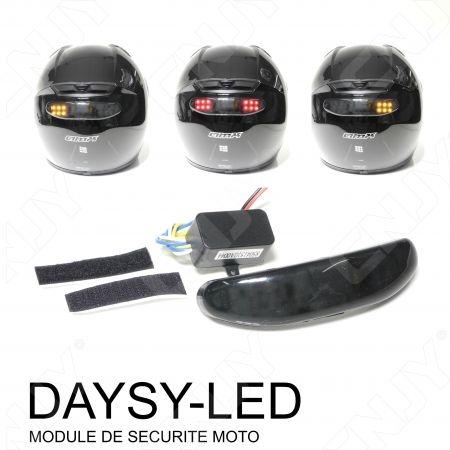 MODULE DAYSY LED REPETITEUR CLIGNOTANT & STOP--SYSTEME DE SECURITE AUTONOME POUR CASQUE DE MOTO ORANGE & ROUGE