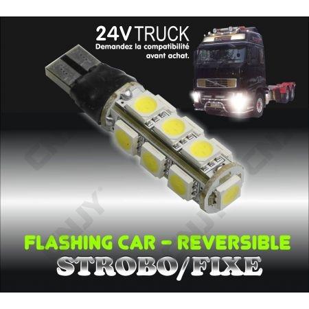 1 AMPOULE LED T10 W5W VEILLEUSE CLIGNOTANTE 24V FLASH CAMION
