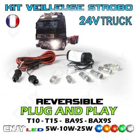 KIT MODULE 2 AMPOULES VEILLEUSE STROBOSCOPIQUE STROBO/FIXE PACE CAR FEUX DE PENETRATION 24V CAMION