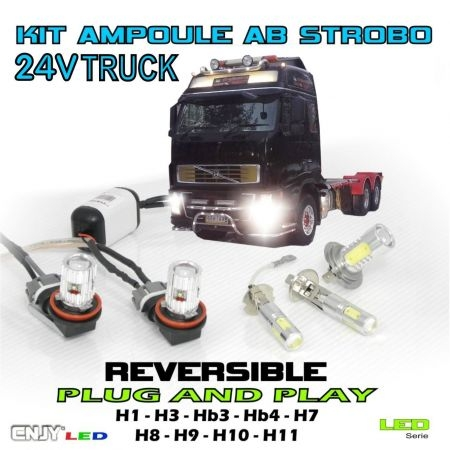 KIT 2 AMPOULES LED ANTI BROUILLARD POUR CAMION (FOG LIGHT TRUCK) STROBO/FIXE STROBOSCOPIQUE FLASH PACE CAR 24V