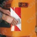 1 ROULEAU de 9M x 141mm BANDE DE SIGNALISATION ADHESIVE MARQUAGE SECURITE AUTO CAMION ENGIN DE CHANTIER ROUGE/BLANC ORALITE