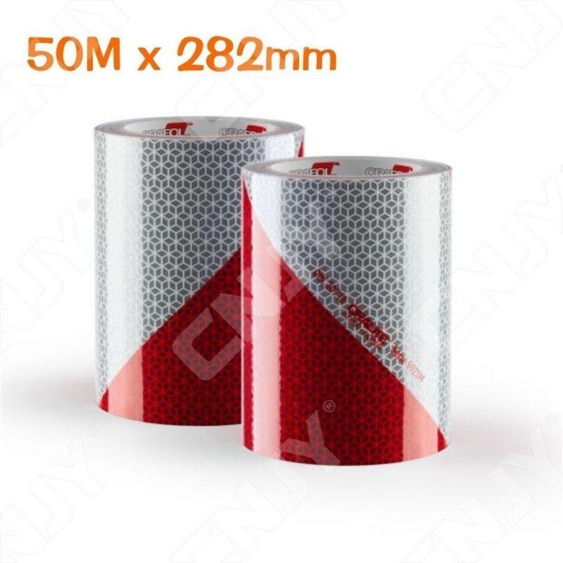 1 ROULEAU de 50M x 282mm BANDE DE SIGNALISATION ADHESIVE MARQUAGE SECURITE AUTO CAMION ENGIN DE CHANTIER ROUGE/BLANC ORALITE