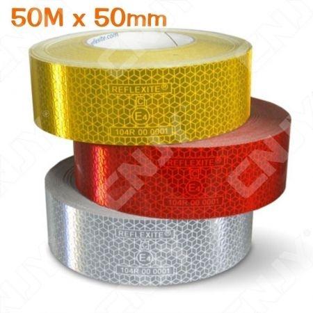 1 ROULEAU 50M x 50mm BANDE DE SIGNALISATION ADHESIVE MARQUAGE SECURITE AUTO CAMION ENGIN DE CHANTIER ROUGE/JAUNE/BLANC REFLEXITE