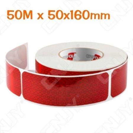1 ROULEAU 50M x 160x50mm 300 labels DE SIGNALISATION ADHESIVE SEGMENTE MARQUAGE POUR AUTO MOTO CAMION ROUGE REFLEXITE