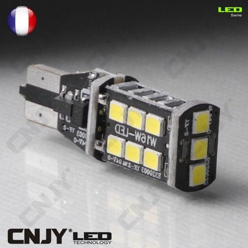 1fa79a4ab28db9 2 AMPOULES - FEUX DE RECUL LED T15 W16W RENAULT MEGANE 3 ANTI-ERREUR ODB  BLANC à 14,80 € chez CNJY-LED.FR