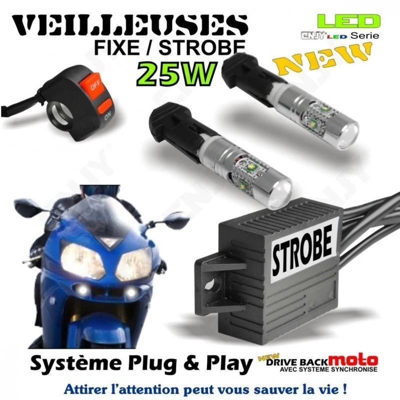 KIT AMPOULE VEILLEUSES FEUX DETRESSE PENETRANT & PENETRATION MOTO STROBO/FIXE FLASH DRIVEBACK + INTERRUPTEUR GUIDON