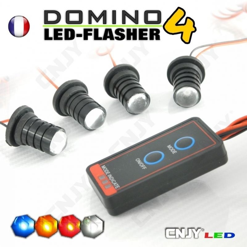 KIT DOMINO FLASHER 4 LED 1W FLASHING CAR PHARE VEILLEUSE STROBO PACE FLASH 12V