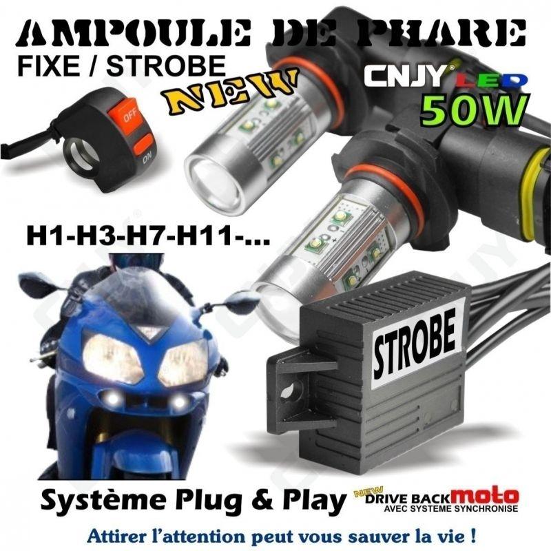 KIT AMPOULE PHARE -FEUX DE DETRESSE PENETRANT & PENETRATION MOTO STROBO/FIXE FLASH DRIVEBACK + INTERRUPTEUR GUIDON
