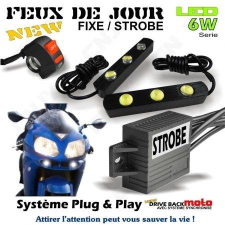 Kit de barre led rigide DBM 6W 12W convertible feux de jour et feux pénétrant pour moto