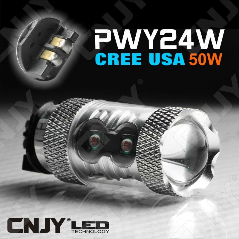 1 AMPOULE LED PWY24W TYPE 50W ORANGE AVEC LED CREE USA ANTI ERREUR ODB CANBUS POUR REPETITEUR & CLIGNOTANT