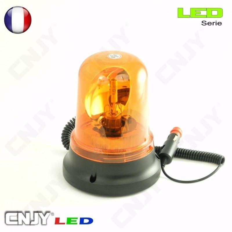 Gyrophare orange à ampoule led H1 12W rotatif et magnétique ECE R65