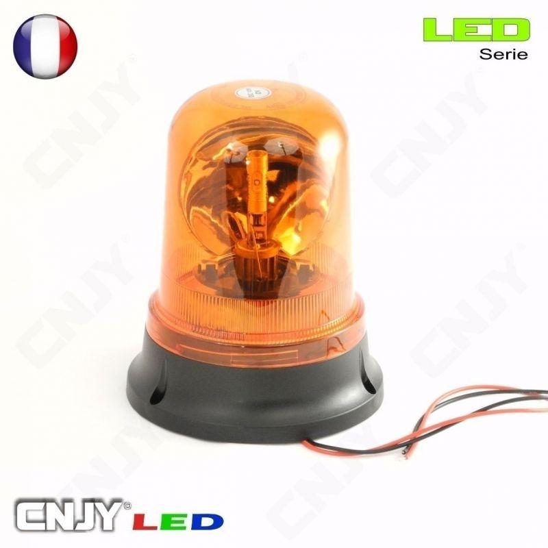 Gyrophare rotatif halogène orange 55w V2 câblé pose en applique ECE R65