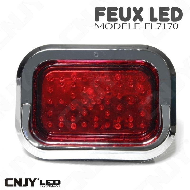Feu à led rouge stop veilleuse carré moto 12V 24V