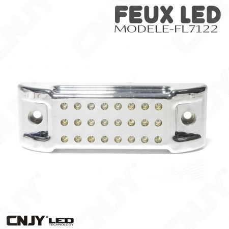 Feu rectangulaire stop droit chromé à led orange rouge 12V 24v motard