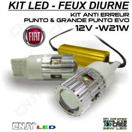 KIT 2 LED T20 7440 W21W AVEC ANTI ERREUR POUR FEUX DE JOUR FIAT GRANDE PUNTO EVO