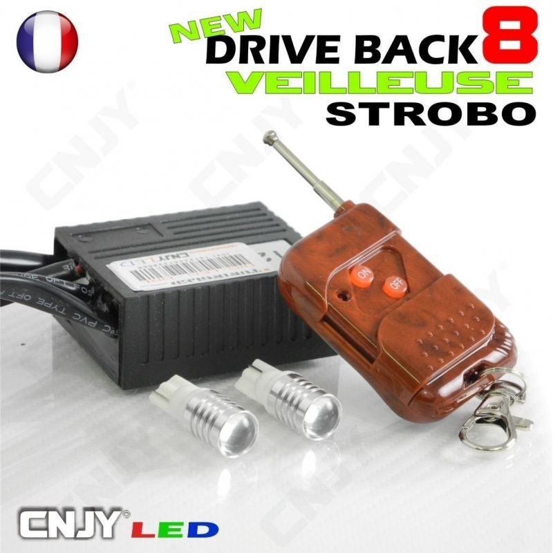 KIT DRIVEBACK 8 AMPOULE LED T10 W5W GYROPHARE FIXE/FLASH PHARE STROBOSCOPE VEILLEUSE
