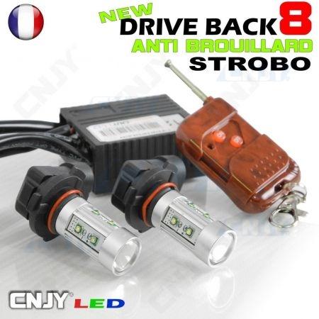 Kit DriveBack 8, 2 ampoules LED fixe et flash pour phare et feu anti brouillard pour véhicule d'intervention