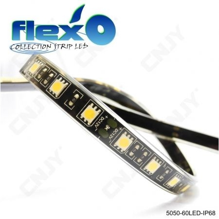 Ruban led flexible 500cm IP68 60led/M 5050SMD Adhésive à fond noir 12V