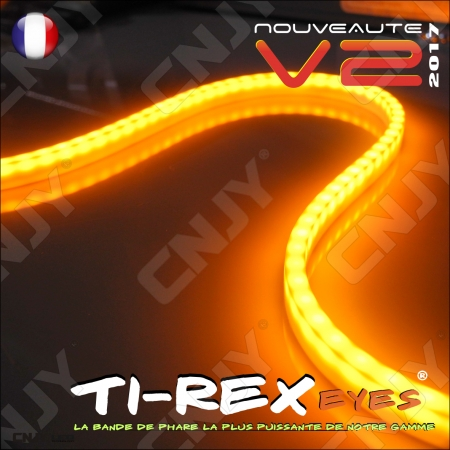 KIT 2 BANDES LED TI-REX V2 60CM ORANGE - STRIP SOUPLE POUR CLIGNOTANT SOUS PHARE 12V-IP68-120LED/M