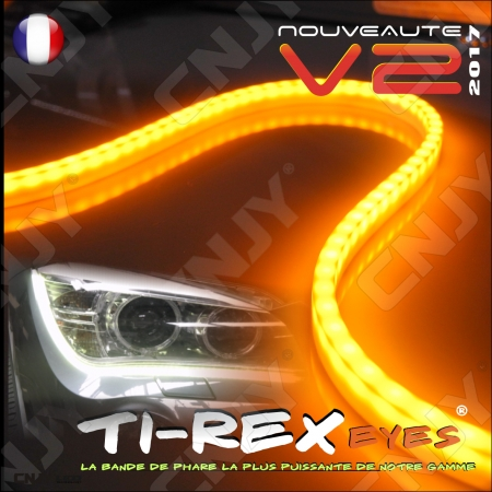 KIT 2 BANDES LED TI-REX V2 60CM DUO FEUX JOUR CLIGNOTANT BLANC/ORANGE