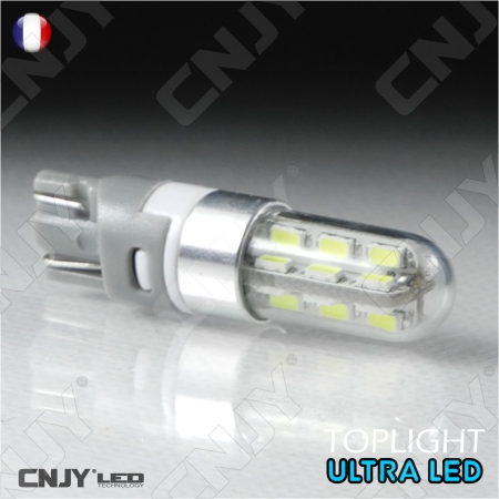 1 AMPOULE LED T10 W5W ULTRA LIGHT 24 SMD BLANC