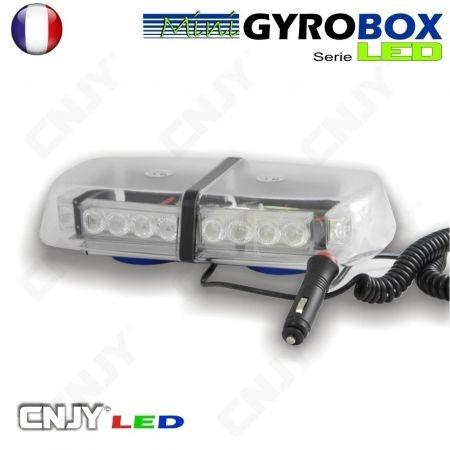 Gyrophare led blanc et orange magnétique Gyrobox 24W rampe extra plat 30cm