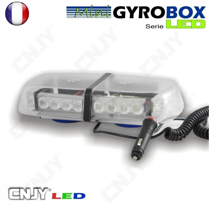 Gyrophare led blanc et orange magnétique Gyrobox 24W rampe extra plat 12V