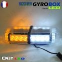 Gyrophare led blanc et orange magnétique Gyrobox 24W rampe extra plat 24V