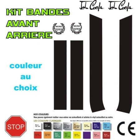 STICKERS KIT DE BANDE POUR CAPOT & COFFRE MINI JOHN COOPER ONE AUSTIN REF: 2