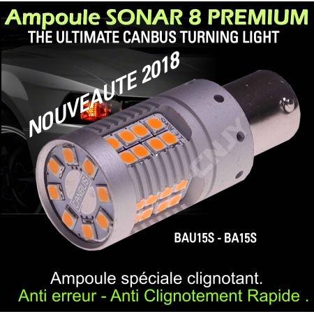 Ampoule led sonar 8 anti erreur odb et anti clignotement rapide P21W à led orange culot ba15s compatible 2018