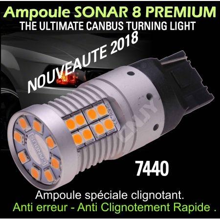 Ampoule Led orange T20 7440 W21W WY21W Sonar 8 canbus et anti clignotement rapide
