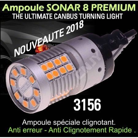 Ampoule Led orange T25 3156 P27W PY27W Sonar 8 canbus et anti clignotement rapide