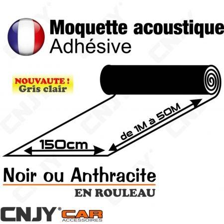 MOQUETTE ACOUSTIQUE ADHESIVE GRIS ANTHRACITE NOIR EN ROULEAU DE 150cm