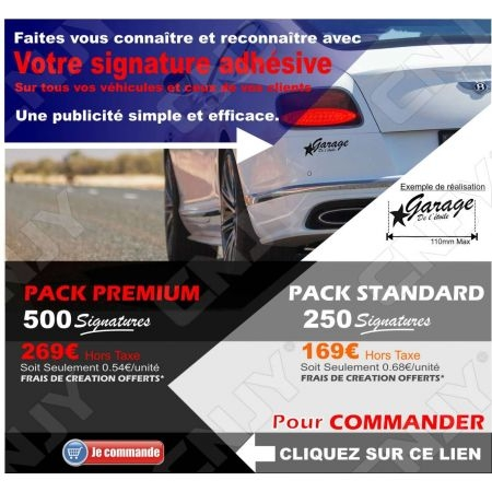 Signature adhésive automobile marquage publicitaire sur auto moto