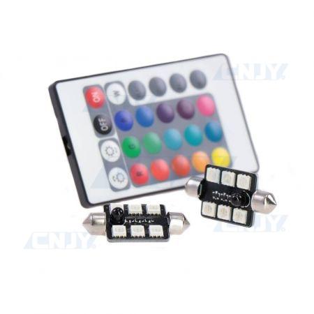 AMPOULES LED NAVETTE C5W 36mm RGB MULTICOULEUR plafonnier