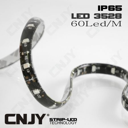 BANDE LED FLEXIBLE ADHESIVE ECO 3528 IP65 FOND NOIR BLANC FROID