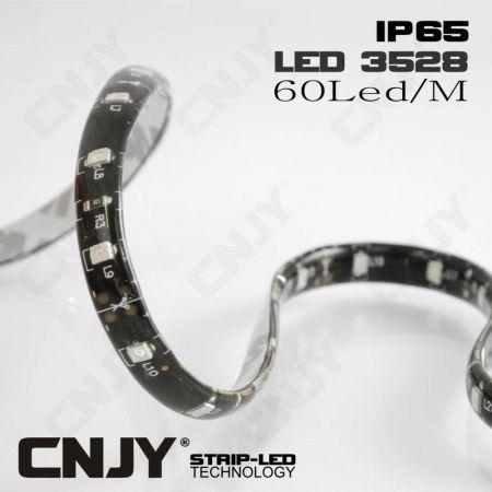 ROULEAU 500CM BANDE LED FLEXIBLE ADHESIVE ECO 3528 IP65 FOND NOIR