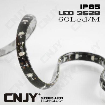 BANDE LED FLEXIBLE ADHESIVE ECO 3528 IP65 FOND NOIR ORANGE