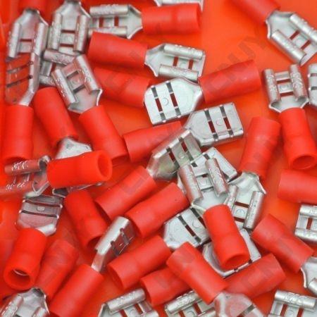 10 COSSES PLATE FEMELLE -6.3mm rouge