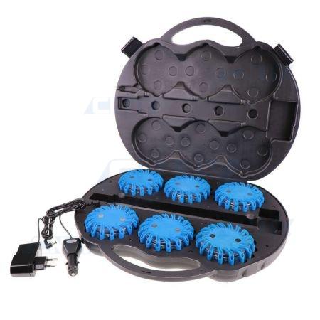 Valise de 6 balises led Vzor bleu autonome magnétique et rechargeable