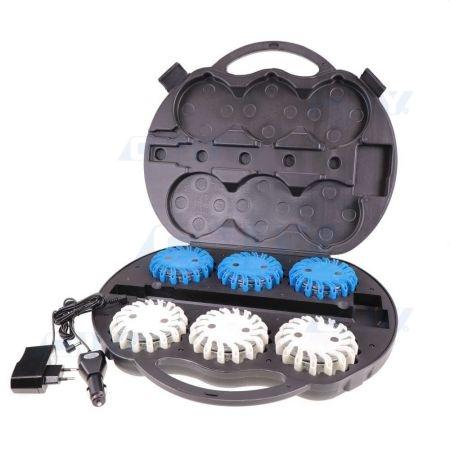 Valise de 6 balises led Vzor blanc et bleu autonome magnétique et rechargeable