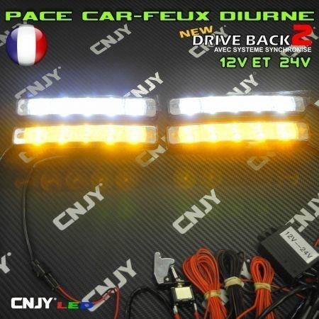 Kit de feux pénétrant réversible en feux de jour DB-3 à led 60W E4 orange et blanc