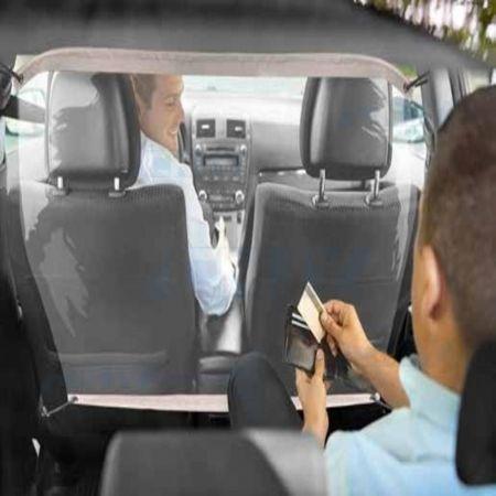 Paroi de séparation hygiaphone protection sanitaire pour véhicule taxi et ambulance ajustable