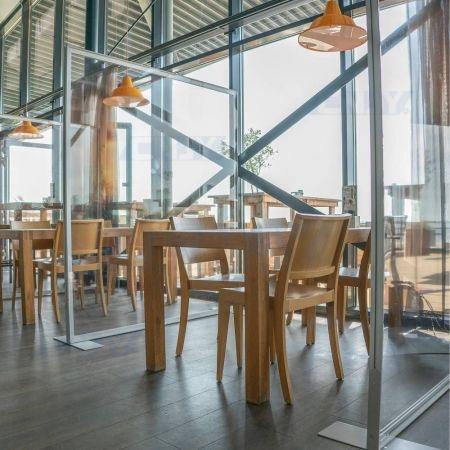 Paroi de séparation et d'hygiène pour restaurant, terrasse, salle de sport